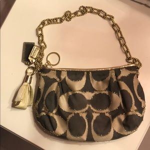 Coach small gold & grey  bag with chain detail